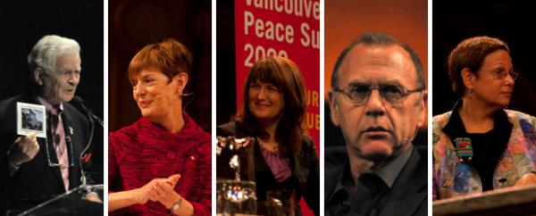 British Columbia's leaders in heart-mind education (from L to R) Irving K. Barber, Martha C. Piper, Kim Schonert Reichl, Clyde Hertzman and Adele Diamond (photos by Sonam Soksang and Samantha Walker 2009)