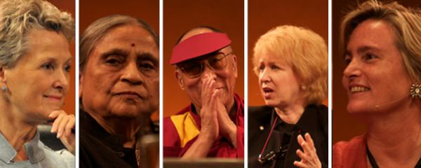 The Dalai Lama was surrounded by some of the greatest leaders of social change, including (L to R) Swanee Hunt, Ela Bhatt, Kim Campbell and Susan Davis (photos by Sonam Zoksang and Carey Linde 2009)