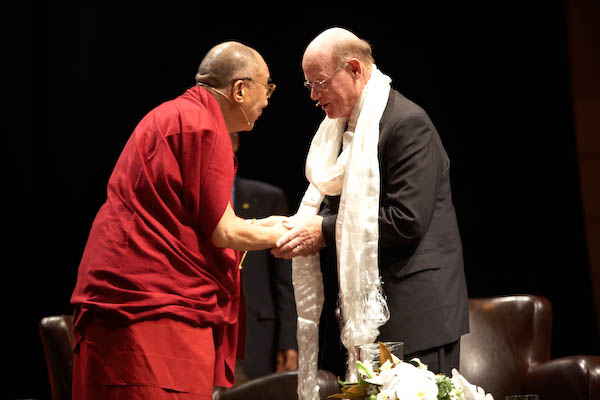 His Holiness with Tom Fetzer of the Fetzer Institute (photo by Sarah Murray 2009)