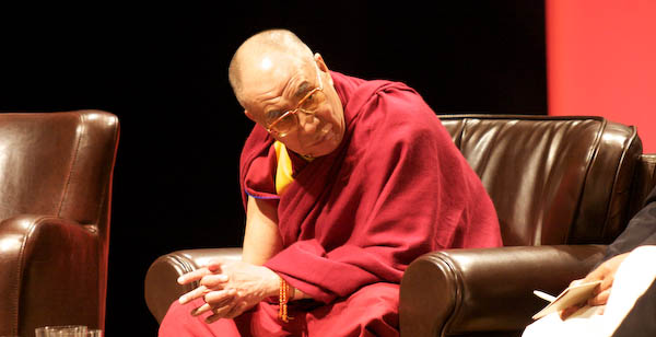 His Holiness listens to Karen Armstrong's Charter for Compassion. (photo by Carey Linde 2009)