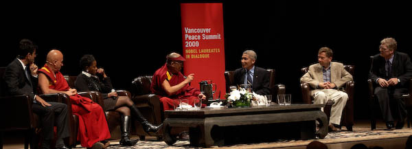 From L to R: Pierre Omidyar, Matthieu Ricard, Rev Mpho Tutu, His Holiness, Thubtan Jinpa, Eckhart Tolle and Sir Ken Robinson (photo by Sarah Murray 2009)