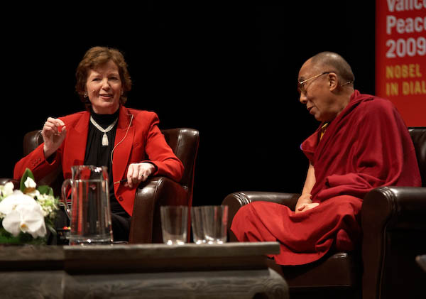 "Moderator Mary Robinson referred to His Holiness as a ""feminist"", a title he embraces. (photo by Sarah Murray 2009)"