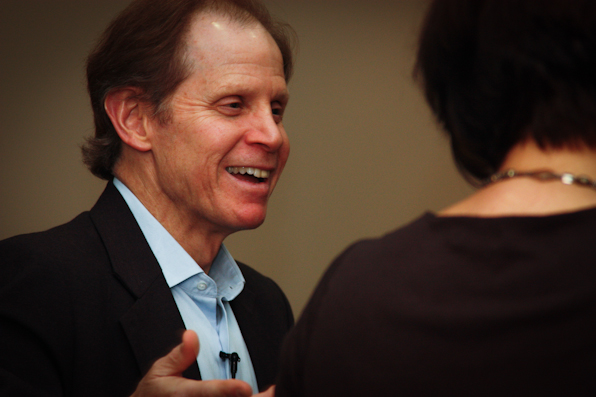 "Dr. Dan Siegel sharing a laugh during ""Parenting for the 21st Century"""