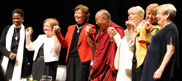 At the Summit, the Dalai Lama shared the stage with such remarkable women as Rev Mpho Tutu, Mairead Maguire, Mary Robinson, Betty Williams, Jody Williams and Karen Armstrong